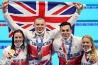 Team effort as GB quartets grab golds in swimming and triathlon relays