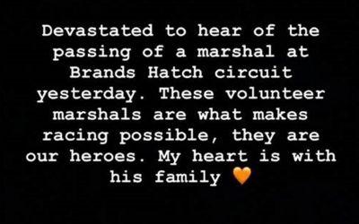 Lewis Hamilton 'devastated' by death of volunteer marshal at Brands Hatch